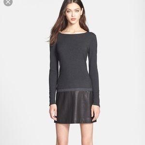 Theory keiran lamb leather long sleeves dress